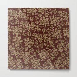 Flower Pattern Flowers in brown Plant Metal Print
