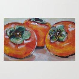 Original art work, oil painting, food, fruit, persimmon, sweet, taste Rug