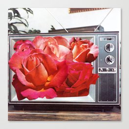Retro TV with Rose Bouquet Collage Canvas Print