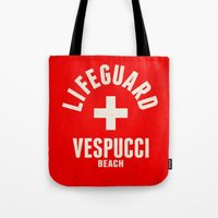 grand theft auto Tote Bags featuring Los Santos Vespucci Beach Lifeguard Grand Theft Auto by KeenaKorn