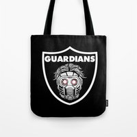 guardians of the galaxy Tote Bags featuring Guardians  by Buby87
