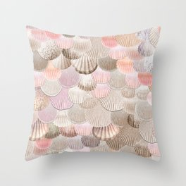 MERMAID SHELLS - CORAL ROSEGOLD Throw Pillow