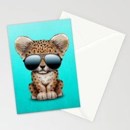 Cute Baby Leopard Wearing Sunglasses Stationery Cards