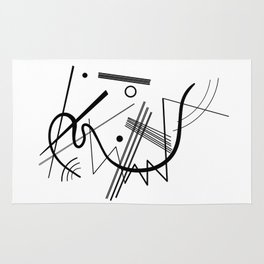 Kandindky - Black and White Abstract Art Rug