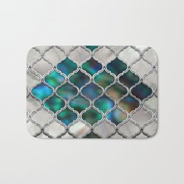 Moroccan pattern on the pearl and color shell Bath Mat