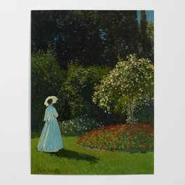 Lady in the garden Poster