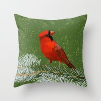 cardinal Throw Pillows featuring Cardinal by Janko Illustration