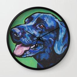 Black Lab Labrador Retriever Fun Dog bright colorful Pop Art Painting by LEA Wall Clock