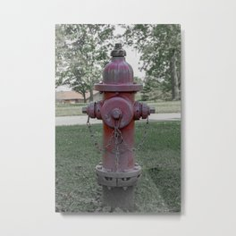 M&H Valve Company Fire Hydrant 129 Faded Red and Green Fire Plug Metal Print
