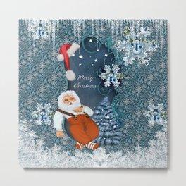 Funny Santa Claus with snowman Metal Print