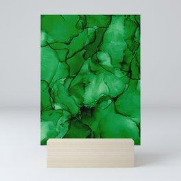 Deep Green Abstract: Original Alcohol Ink Painting Mini Art Print