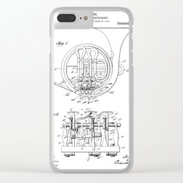 French Horn Patent - Horn Player Art - Black And White Clear iPhone Case