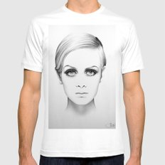 Twiggy Minimal Portrait White Mens Fitted Tee MEDIUM