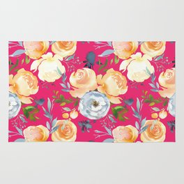 Girly pink teal orange yellow watercolor floral Rug