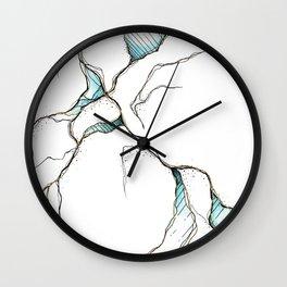 Ocean & Gold Cracks Wall Clock