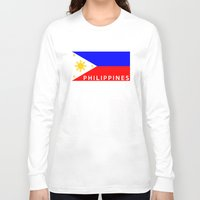 philippines Long Sleeve T-shirts featuring flag of Philippines by tony tudor