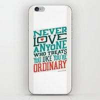 oscar wilde iPhone & iPod Skins featuring Never Ordinary - Oscar Wilde by Travis Cooper