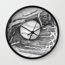 Softball (black and white) Wall Clock