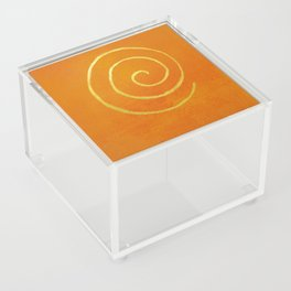 Infinity Bright Orange With Gold Abstract Modern Art Painting Acrylic Box