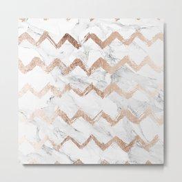 Chic faux rose gold chevron white marble pattern Metal Print