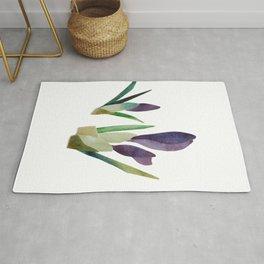 Purple watercolor crocus bud Rug