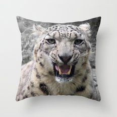Angry snow leopard Throw Pillow