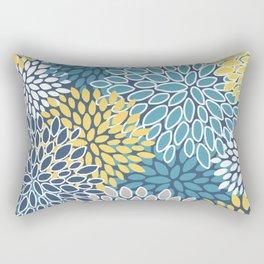 Flower Print, Yellow, Teal and Blue, Print Art Rectangular Pillow