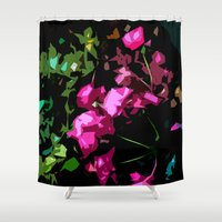 free shipping Shower Curtains featuring Rose garden by Ordiraptus