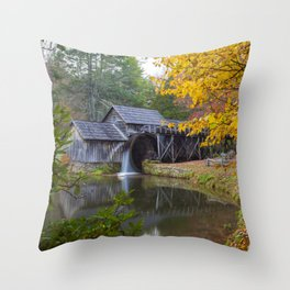Rustic Mill in Autumn Throw Pillow