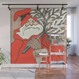 Christmas Pudding And Vintage Santa Vector Wall Mural