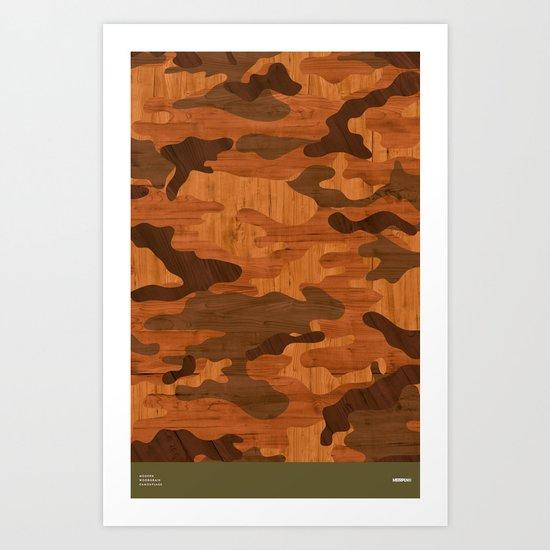 Modern Woodgrain Camouflage / Woodland Print Art Print