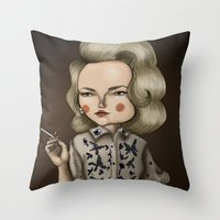 mad men Throw Pillows featuring Betty Draper (Mad men) by Maripili