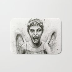 Weeping Angel Watercolor Doctor Who Art Bath Mat