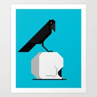 The Crow and the Skull Art Print