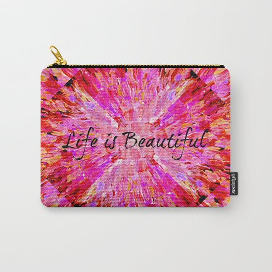 LIFE IS BEAUTIFUL Bold Pink Bird Feathers Ocean Waves Painting Sea Romantic Love Girlie Abstract Carry-All Pouch