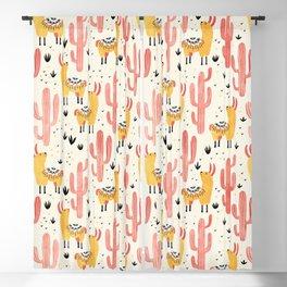 Yellow Llamas Red Cacti Blackout Curtain
