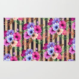 Fragrant Floral Bouquets on Striped Pattern Rug