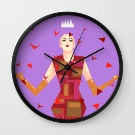 Sasha Velour among rose petals Wall Clock