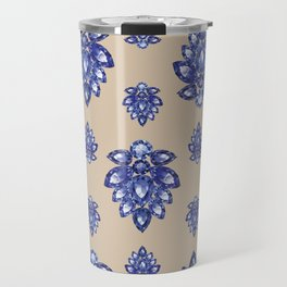 Jewelbox: Sapphire Brooch on Sand Travel Mug