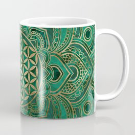 Flower of Life in Lotus - Malachite and gold Coffee Mug