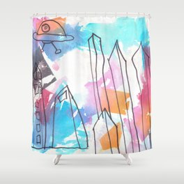 UFO Town Shower Curtain