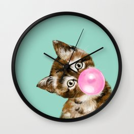Bubble Gum Baby Cat in Green Wall Clock