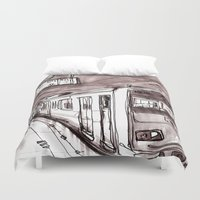 subway Duvet Covers featuring Subway by Jonas Ericson