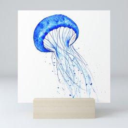 blue jellyfish watercolor Mini Art Print