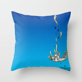The Skydiving Mummy Throw Pillow