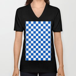 Gingham Brilliant Blue Checked Pattern Unisex V-Neck