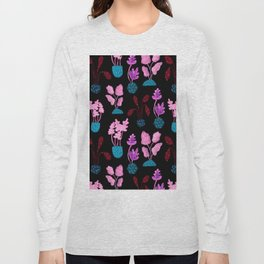 Painted Postmodern Potted Plants in Black Long Sleeve T-shirt