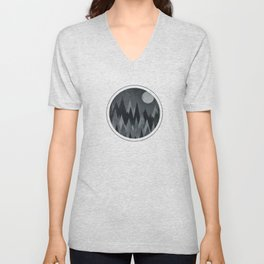 Dark Mystery Abstract Geometric Triangle Peak Wood's (black & white) Unisex V-Neck