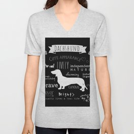 Dachshund black and white Unisex V-Neck