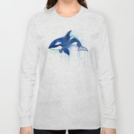 Killer Whale Orca Watercolor Long Sleeve T-shirt